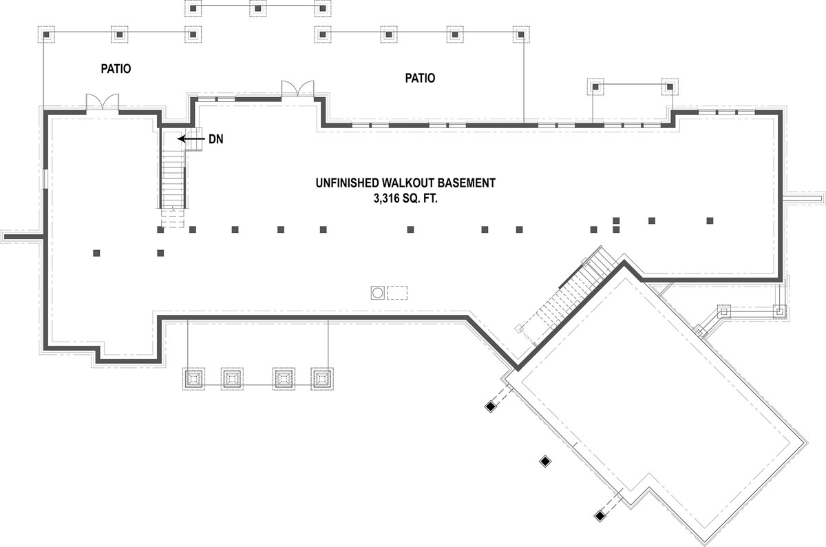 Basement Floorplan image of Featured House Plan: PBH - 1443