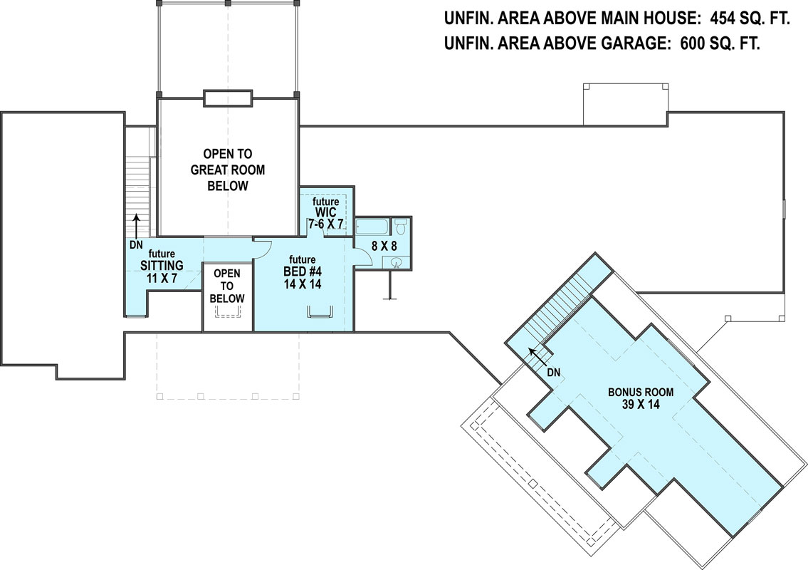 2nd Floor Plan image of Featured House Plan: PBH - 1443