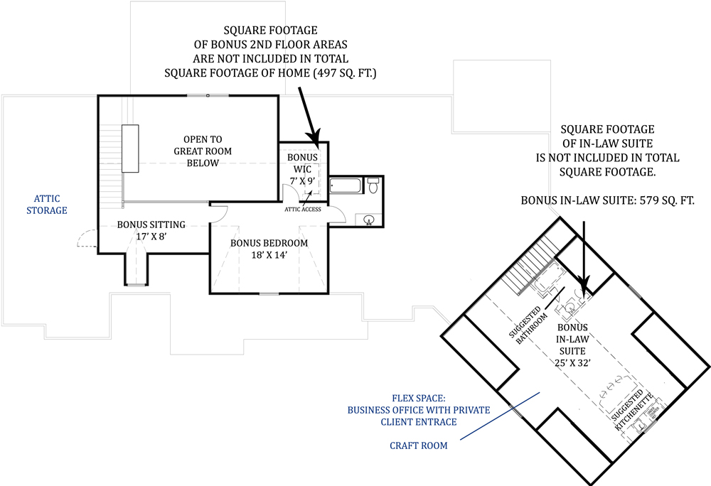Second Floor Plan image of Featured House Plan: PBH - 4445