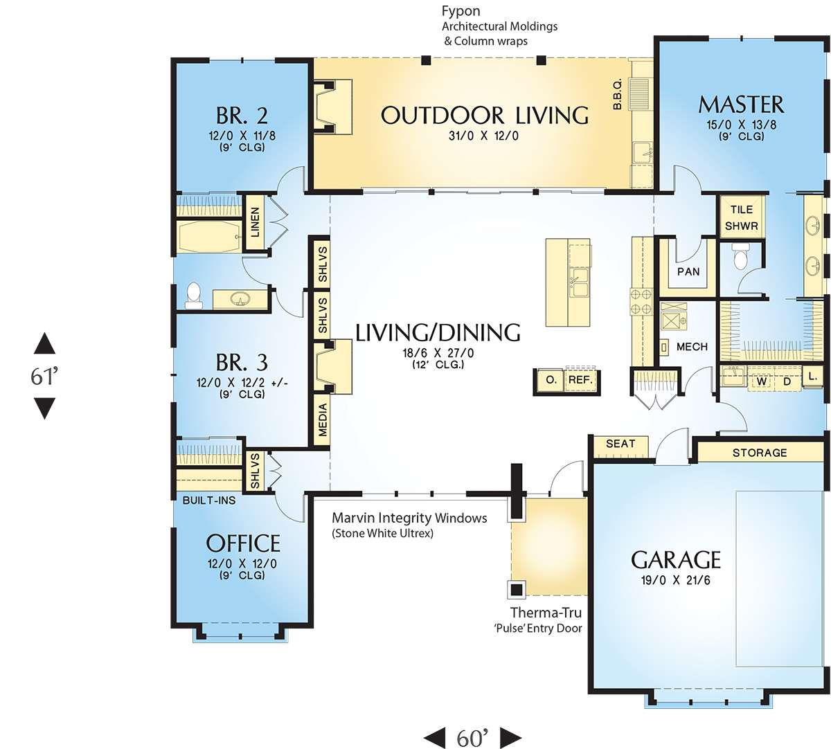 Main Floor Plan image of Featured House Plan: PBH - 4727