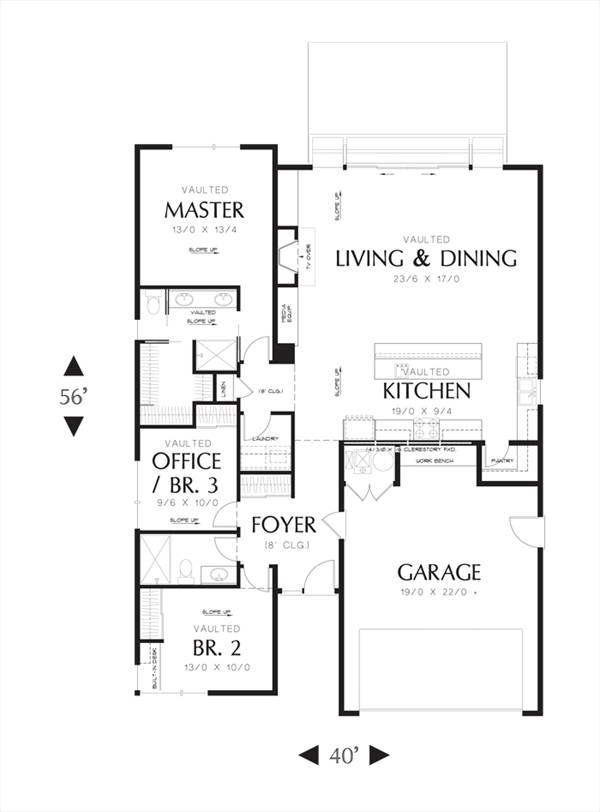 First Floor image of Featured House Plan: PBH - 3085