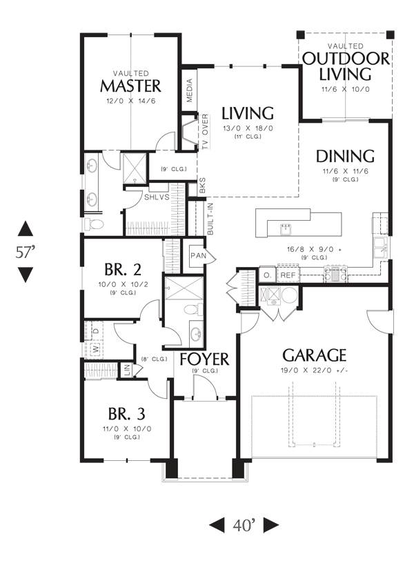First Floor image of Featured House Plan: PBH - 3086