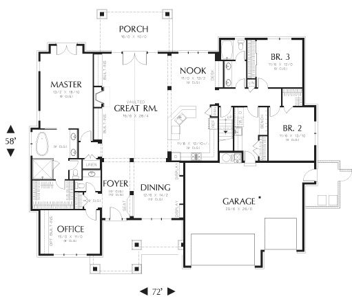 First Floor Plan image of Featured House Plan: PBH - 8290