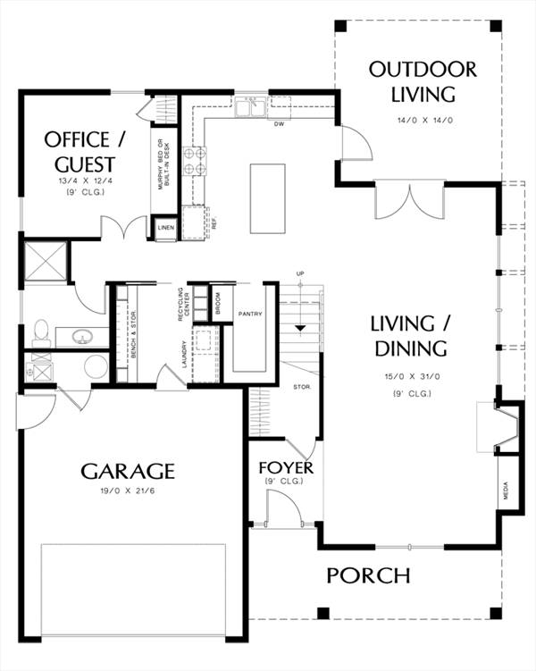 Main Floor Plan image of Featured House Plan: PBH - 3052