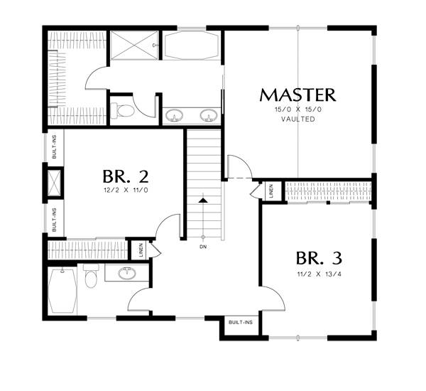 Upper Floor Plan image of Featured House Plan: PBH - 3052