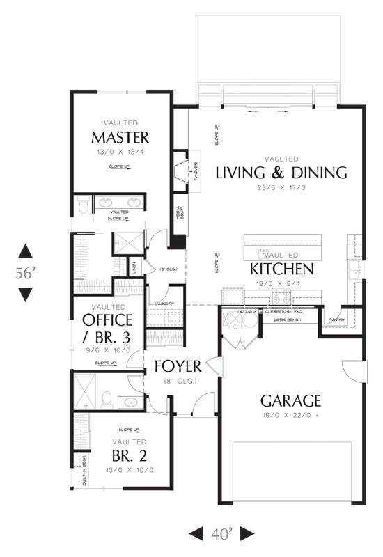 Main Floor Plan image of Featured House Plan: PBH - 3085