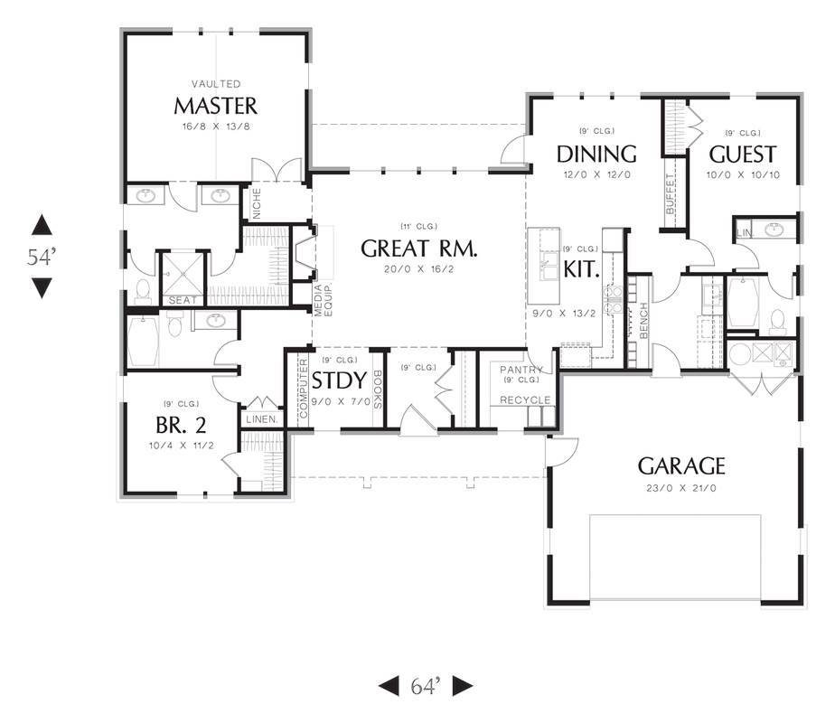 Main Floor Plan image of Featured House Plan: PBH - 3153