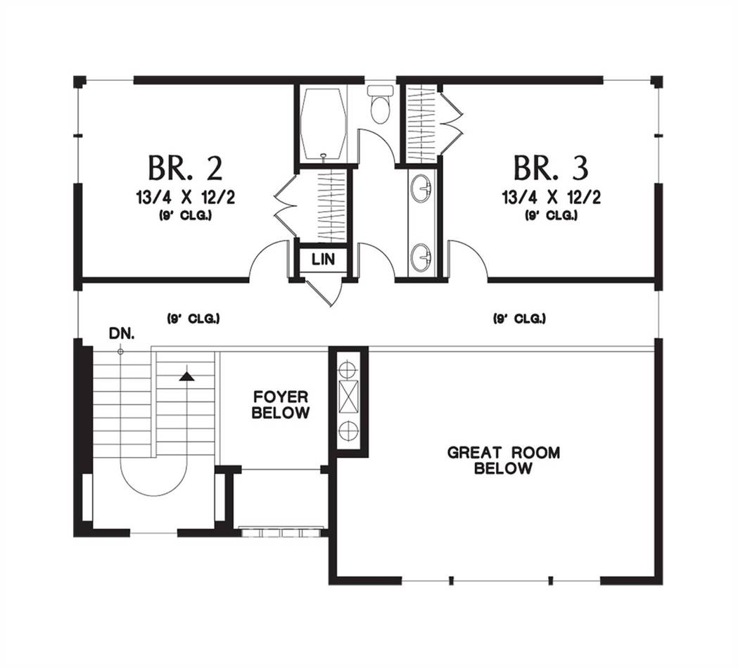Upper Floor Plan image of Featured House Plan: PBH - 5192