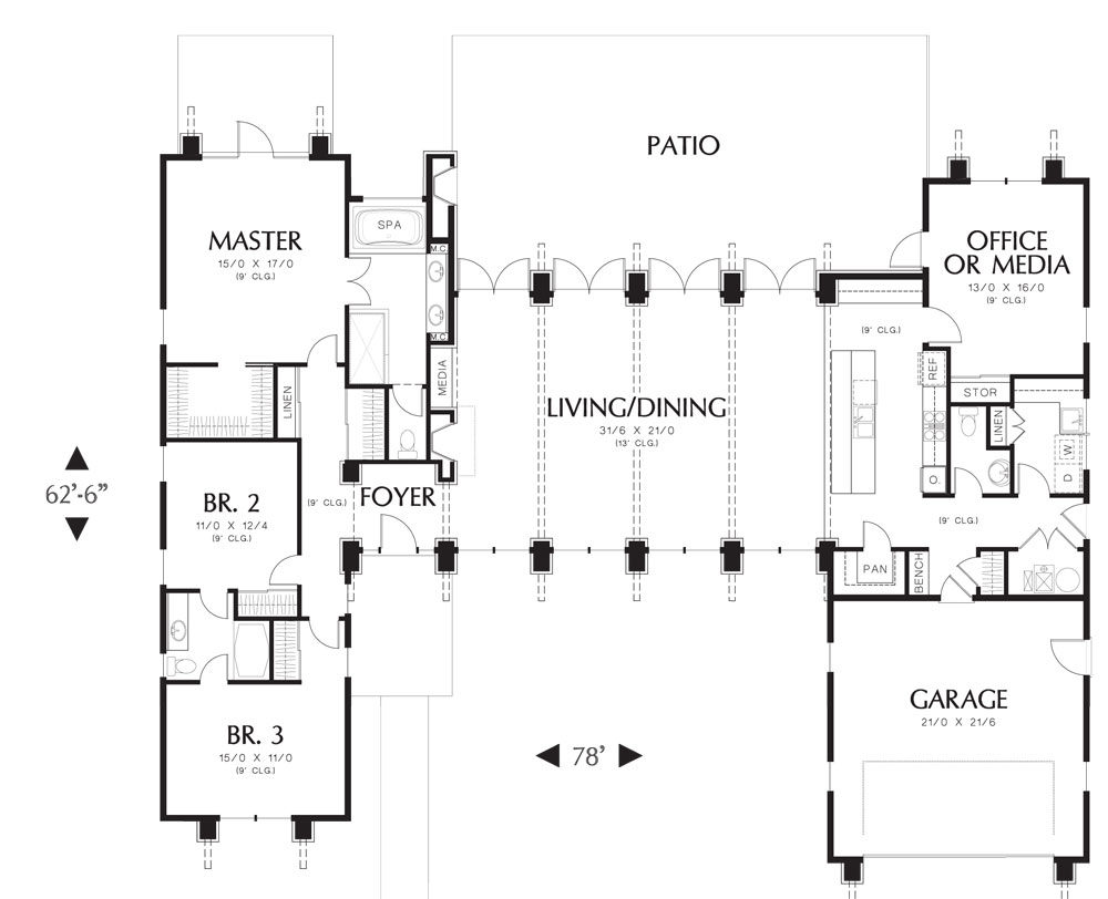 First Floor Plan image of Featured House Plan: PBH - 5173