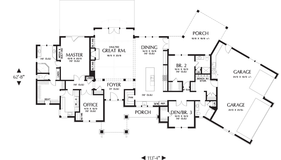 1st Floor Plan image of Featured House Plan: PBH - 9215