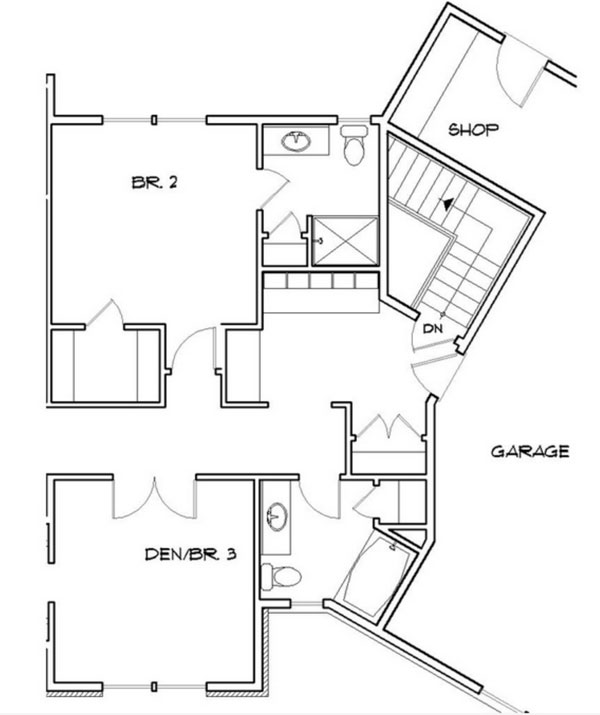 Basement Stair Location image of Featured House Plan: PBH - 9215