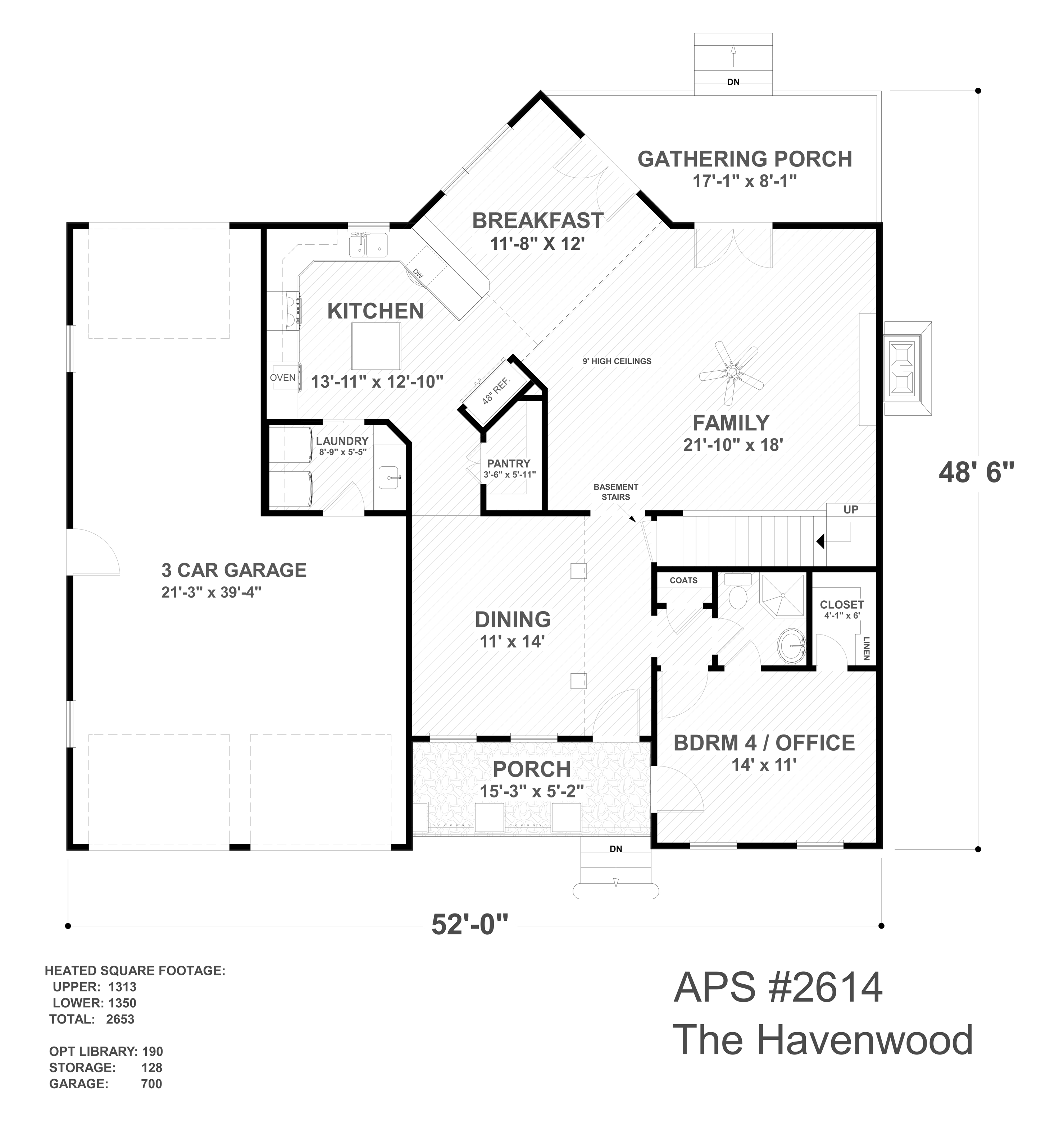 First Floor Plan image of Featured House Plan: PBH - 4710