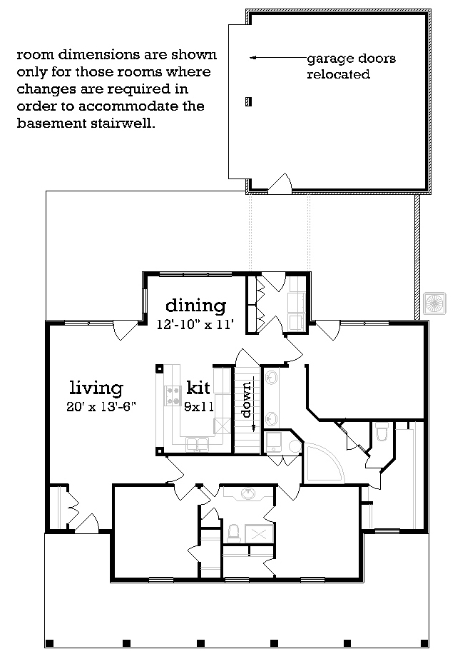 Main Level Stair Location with optional basement image of Featured House Plan: PBH - 3064