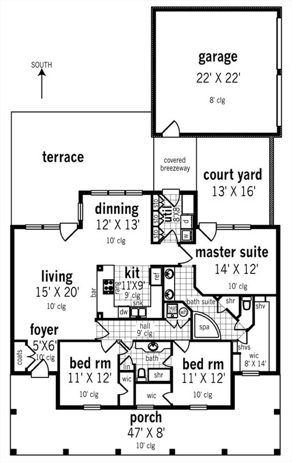 Floor Plan image of Featured House Plan: PBH - 3064