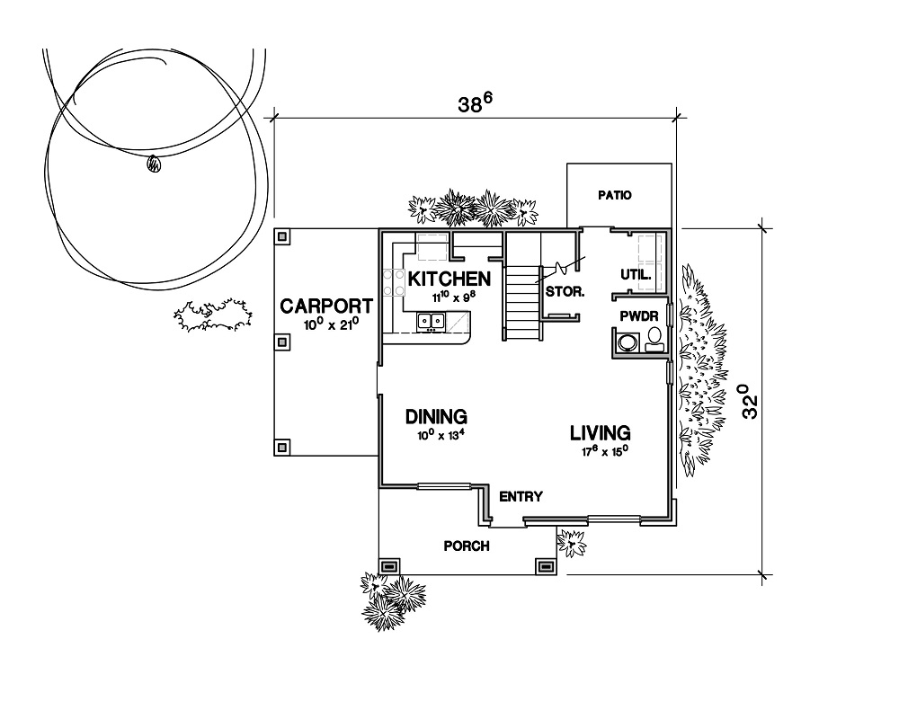 First Floor Plan image of Featured House Plan: PBH - 3082