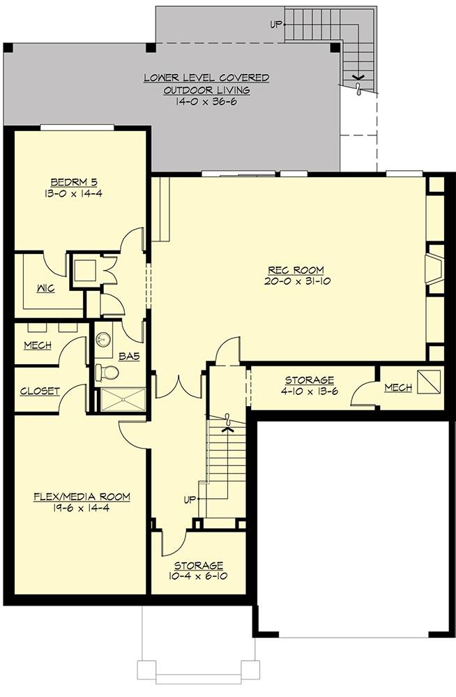 Lower Level Floor Plan image of Featured House Plan: PBH - 7556