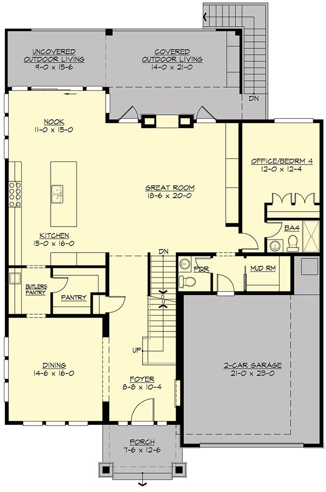 1st Floor Plan image of Featured House Plan: PBH - 7556