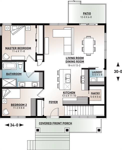 1st Floor Plan image of Featured House Plan: PBH - 7351