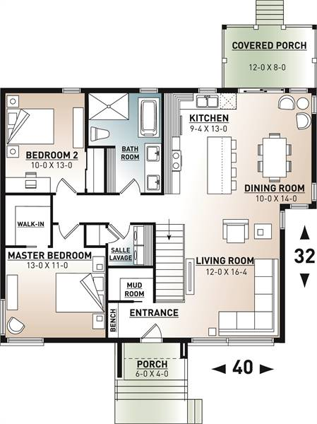 1st Floor Plan image of Featured House Plan: PBH - 7559