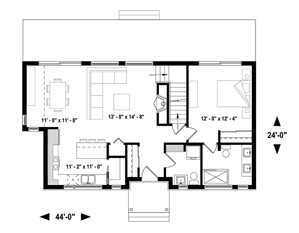 First floor image of Featured House Plan: PBH - 1459
