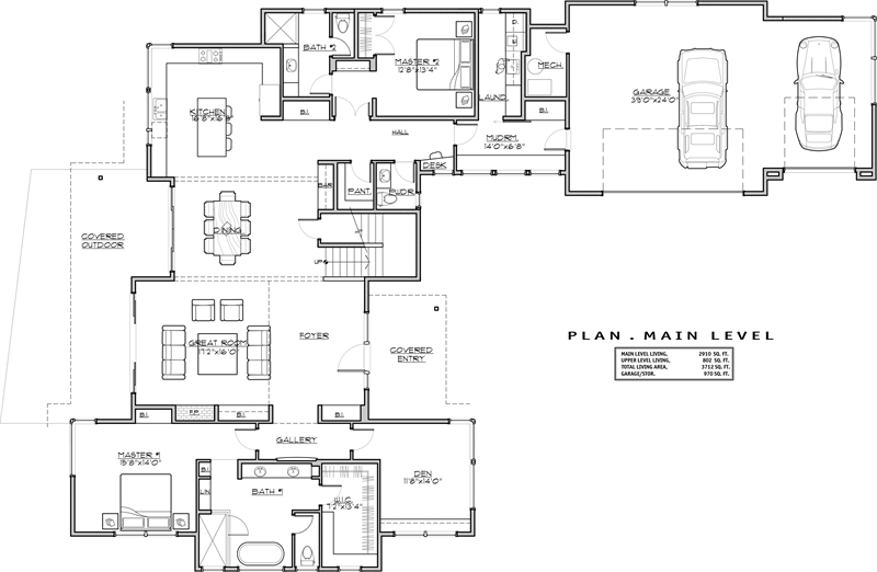 1st Floor Plan image of Featured House Plan: PBH - 1941