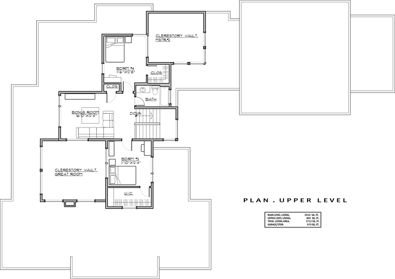 2nd Floor Plan image of Featured House Plan: PBH - 1941