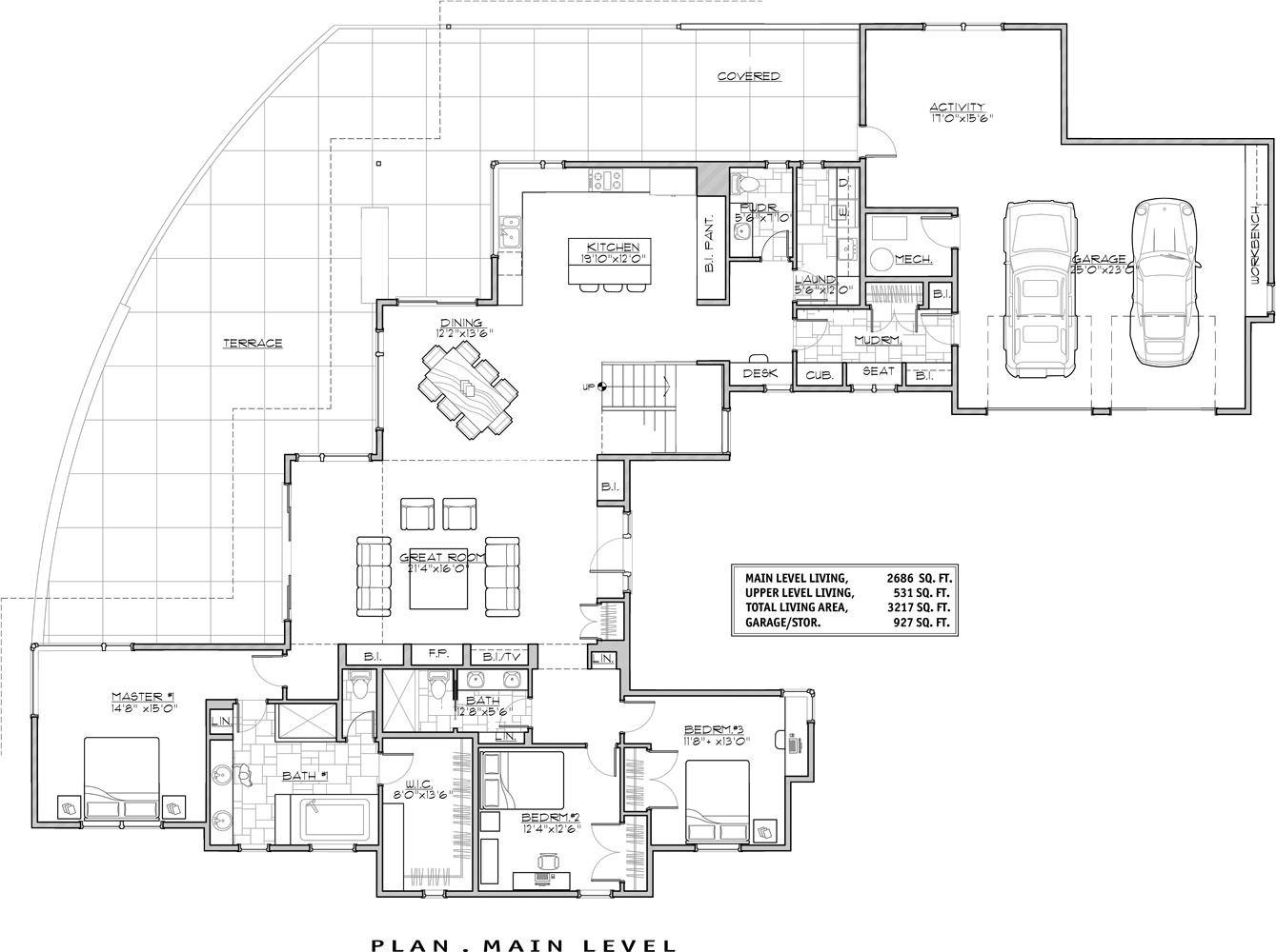 1st Floor Plan image of Featured House Plan: PBH - 9044