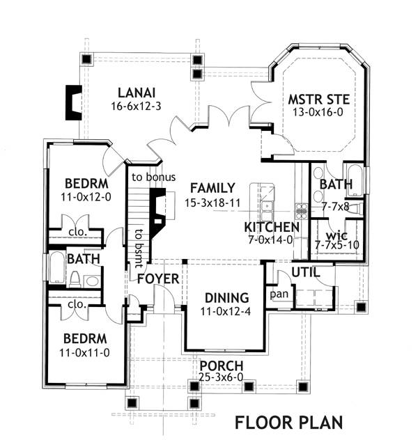 First Floor Plan image of Featured House Plan: PBH - 2259