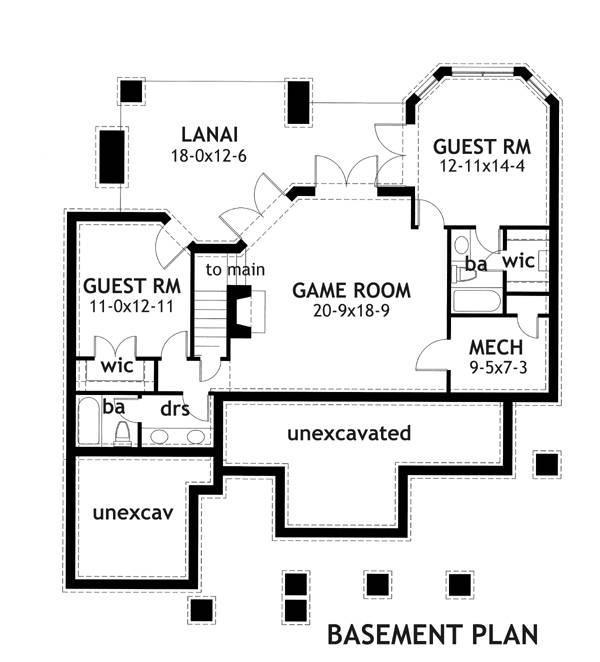 Basement Plan image of Featured House Plan: PBH - 2259