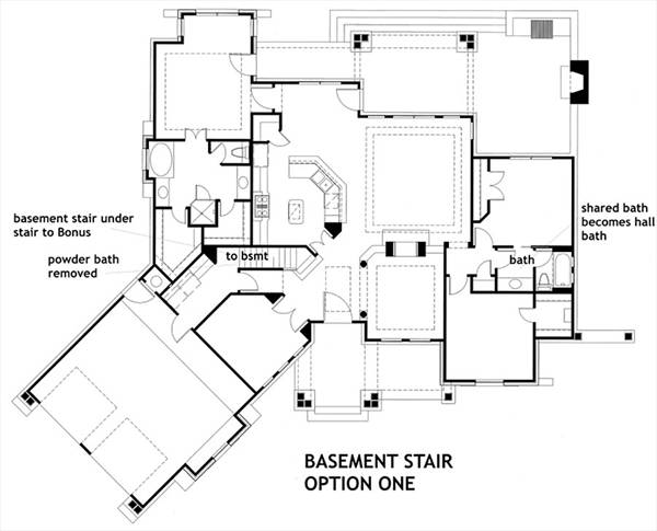 Basement Stair Opt 1 image of Featured House Plan: PBH - 1895