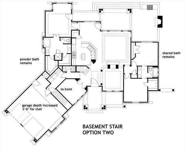 Basement Stair Opt 2 image of Featured House Plan: PBH - 1895