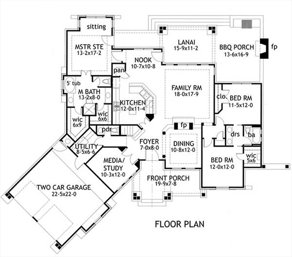 First Floor Plan image of Featured House Plan: PBH - 1895