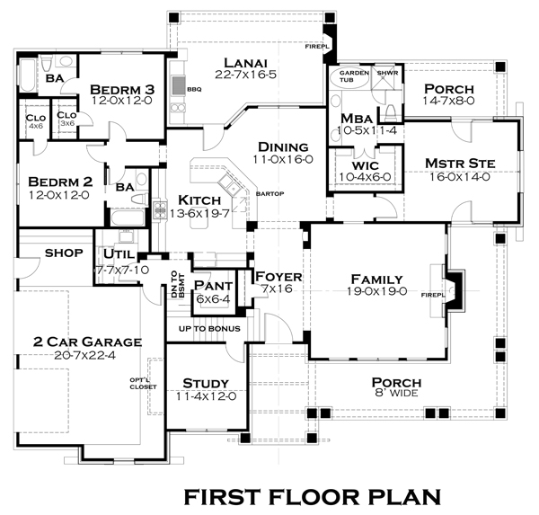 First Floor Plan image of Featured House Plan: PBH - 4838