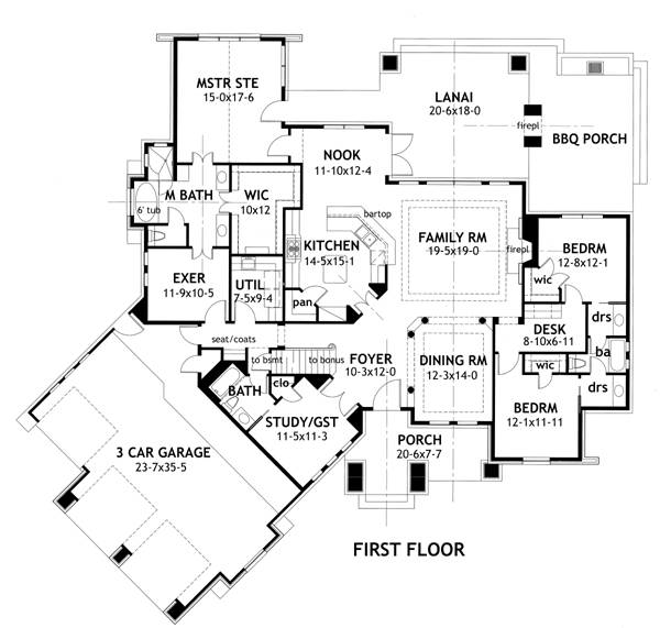 First Floor Plan image of Featured House Plan: PBH - 2297