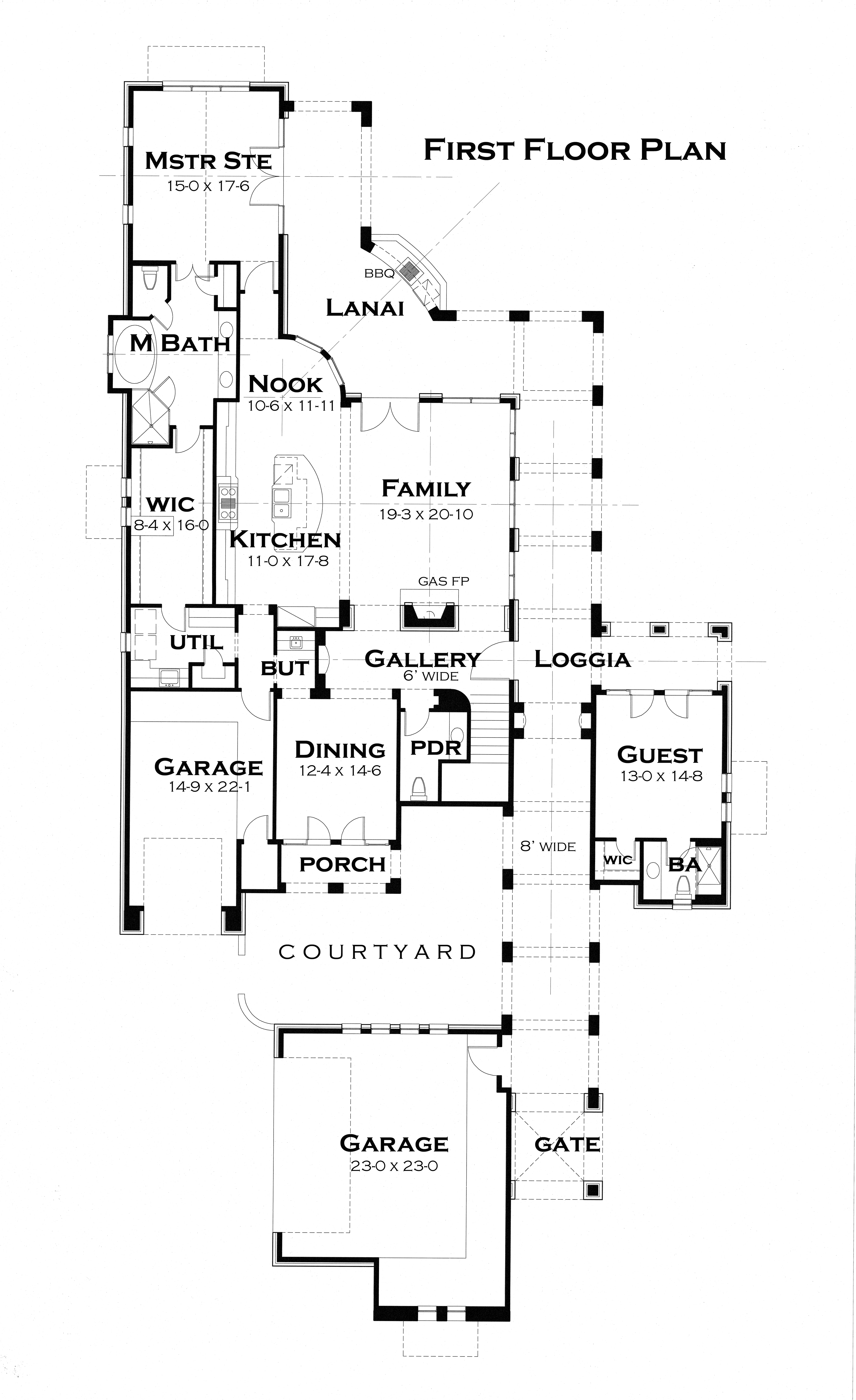 First Floor Plan image of Featured House Plan: PBH - 3123