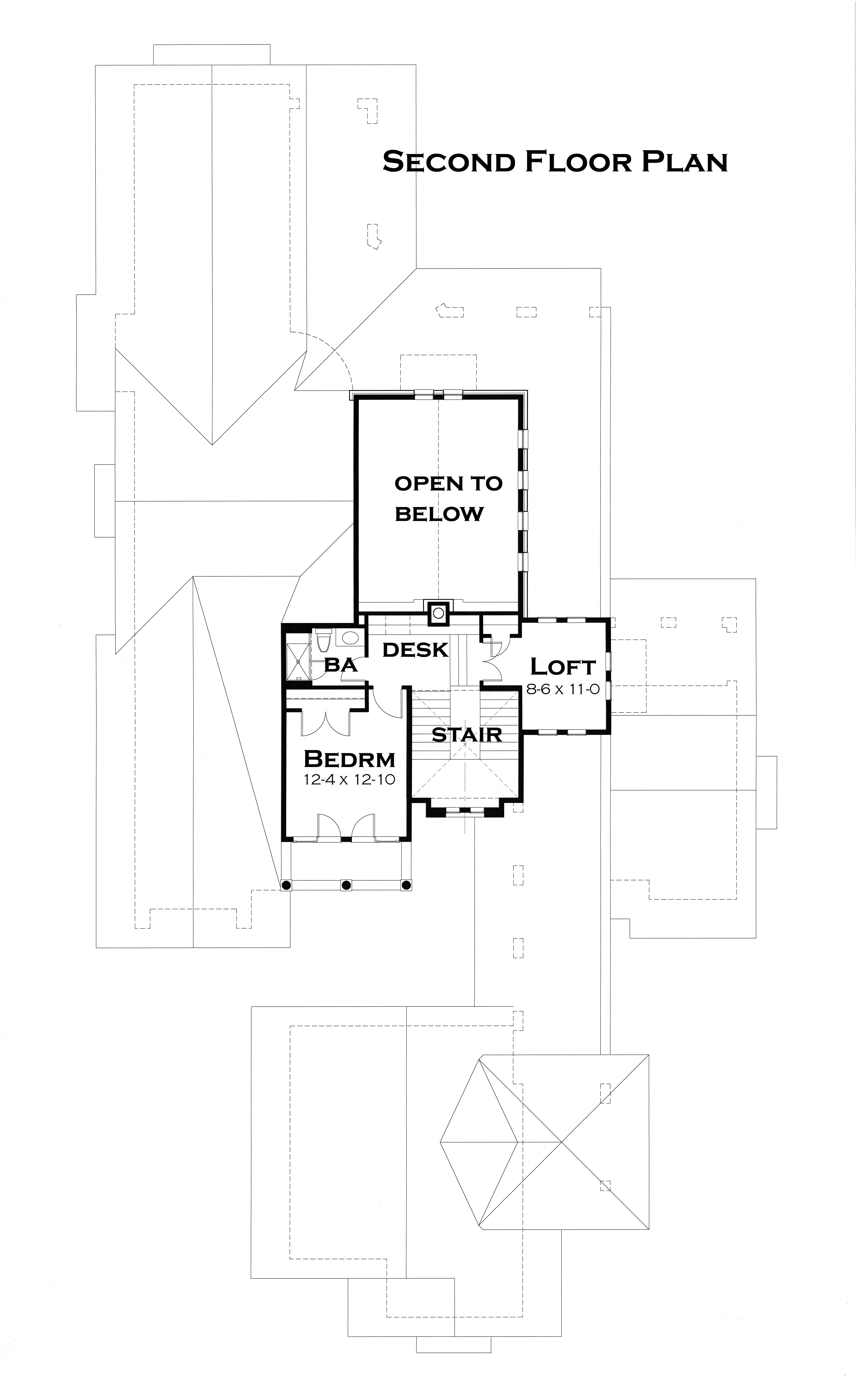 Second Floor Plan image of Featured House Plan: PBH - 3123