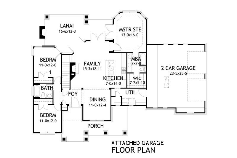 Attached Garage Plan image of Featured House Plan: PBH - 2259