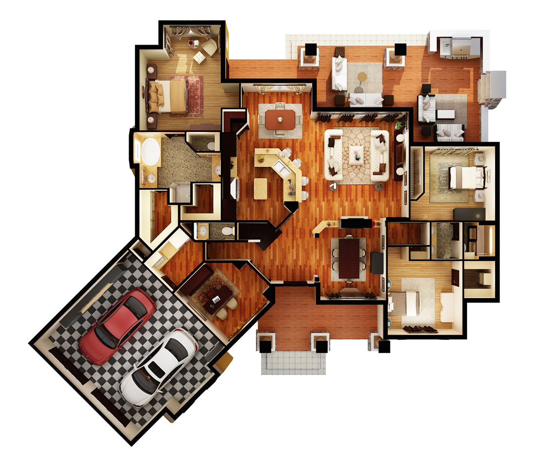 First Floor Plan (3d) image of Featured House Plan: PBH - 1895