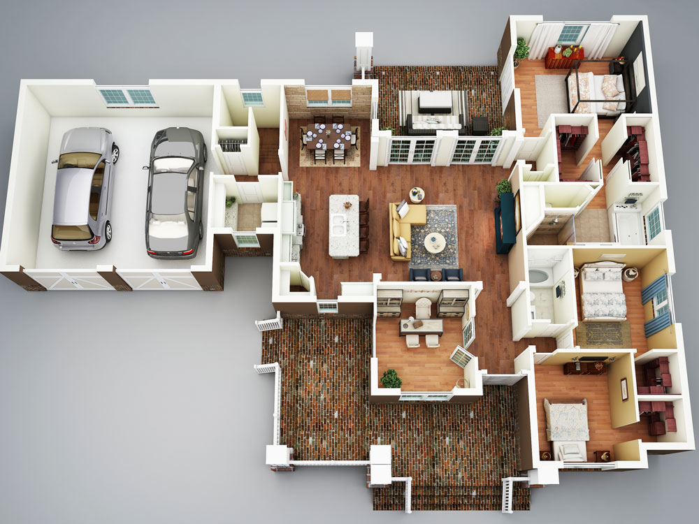 3D Rendering image of Featured House Plan: PBH - 5517