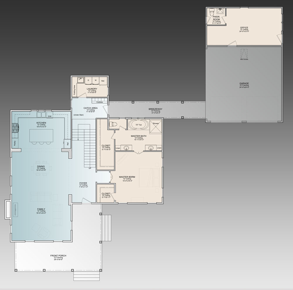 1st Floor Plan image of Featured House Plan: PBH - 9772