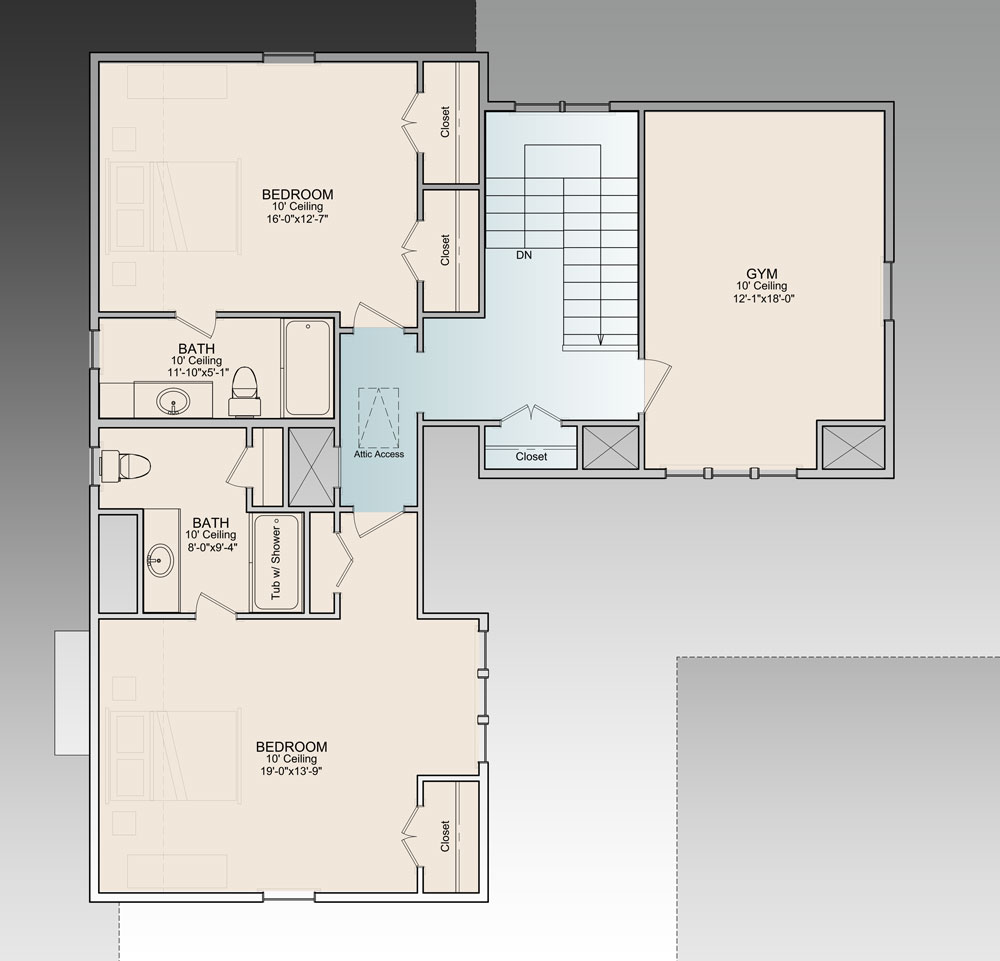2nd Floor image of Featured House Plan: PBH - 9772