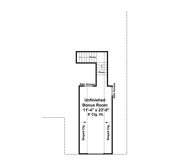 Bonus Room Floorplan image of Featured House Plan: PBH - 8565