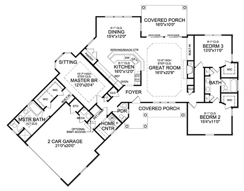 First Floor Plan image of Featured House Plan: PBH - 4421