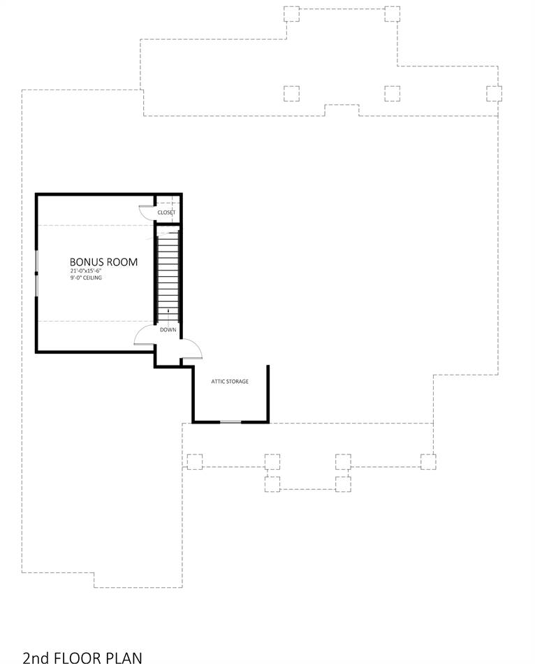 Second Floor Plan image of Featured House Plan: PBH - 9898