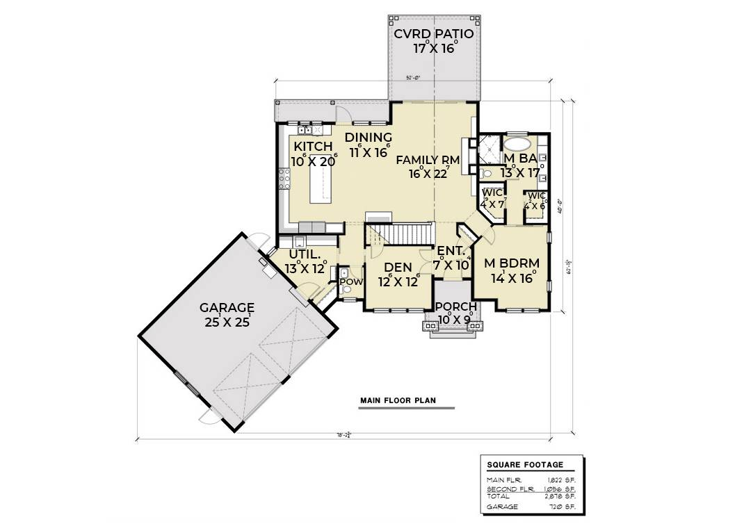 1st Floor Plan image of Featured House Plan: PBH - 6846