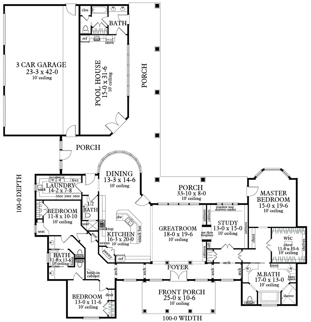 Floor Plan image of Featured House Plan: PBH - 3096