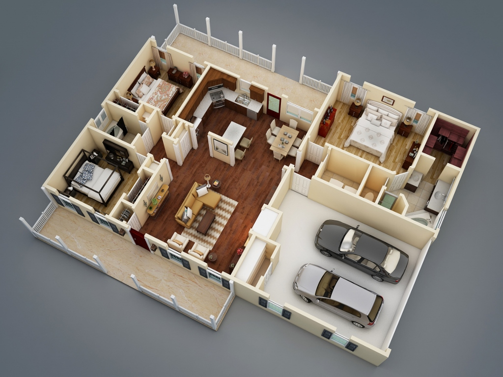3D Floor Plan image of Featured House Plan: PBH - 5458