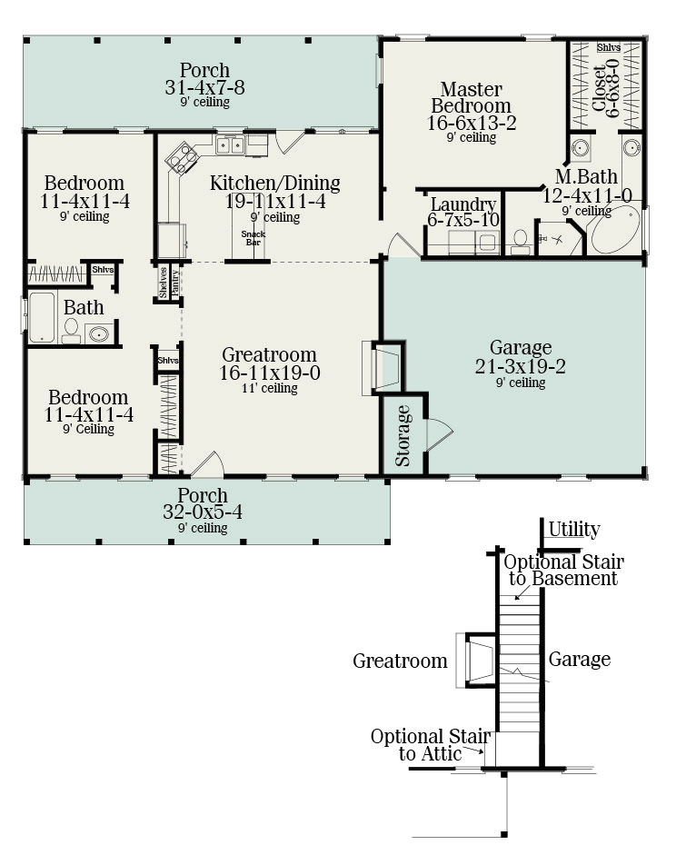 Floor Plan image of Featured House Plan: PBH - 5458