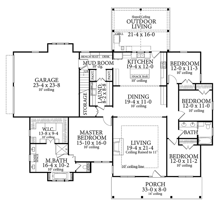Main Floor Plan image of Featured House Plan: PBH - 7263