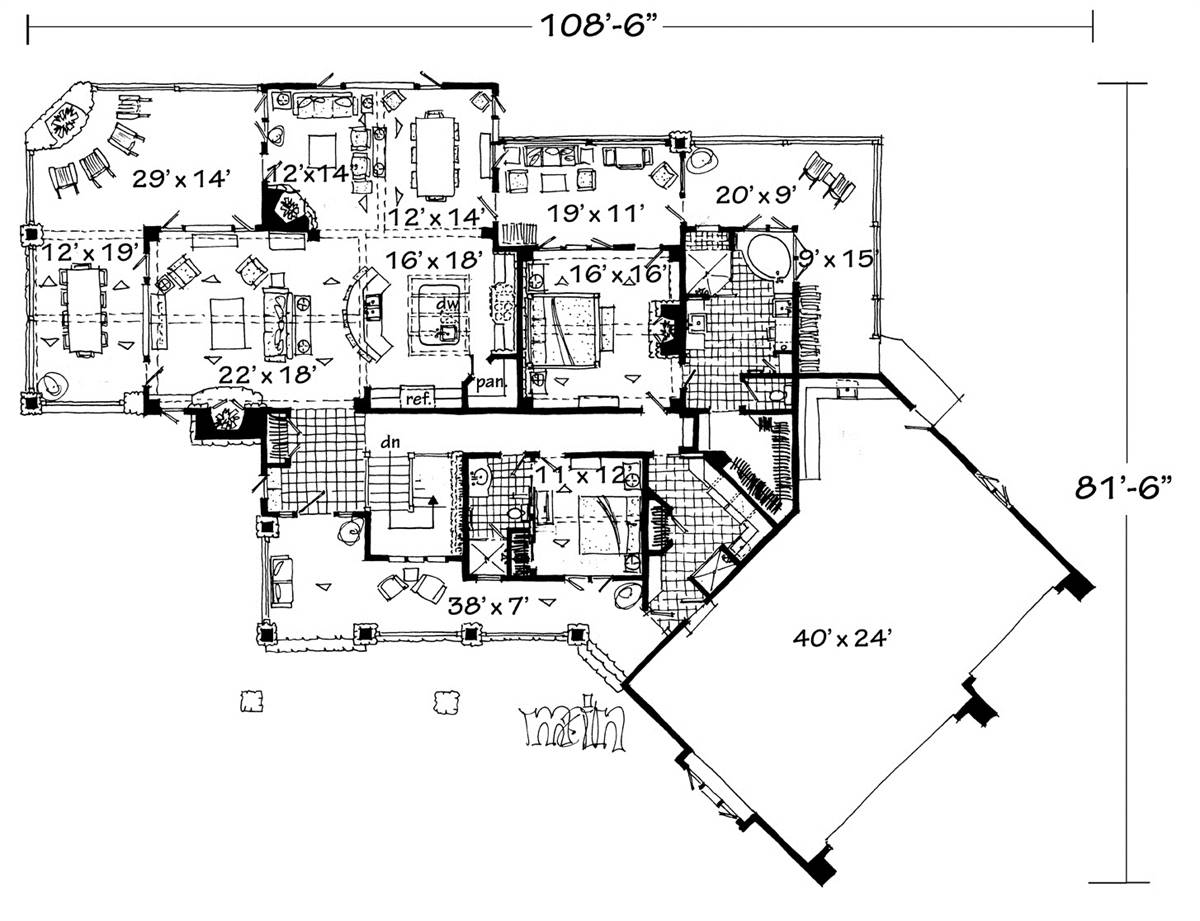 1st Floor Plan image of Featured House Plan: PBH - 3110